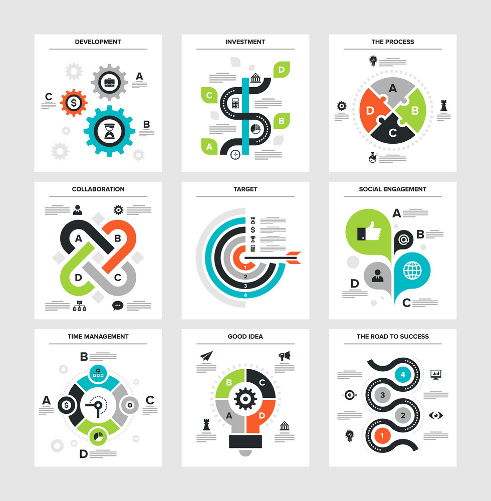 Vector illustration of business infographics on following themes - development