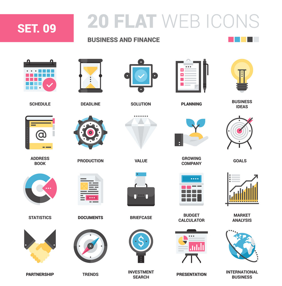 Vector set of business and finance flat web icons. Each icon neatly designed on pixel perfect 64X64 size grid. Fully editable and easy to use.