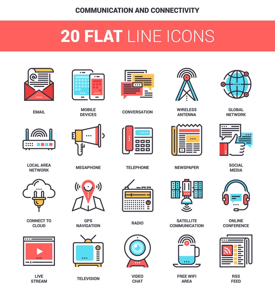Vector set of communication and connectivity flat line web icons. Each icon with adjustable strokes neatly designed on pixel perfect 64X64 size grid. Fully editable and easy to use.