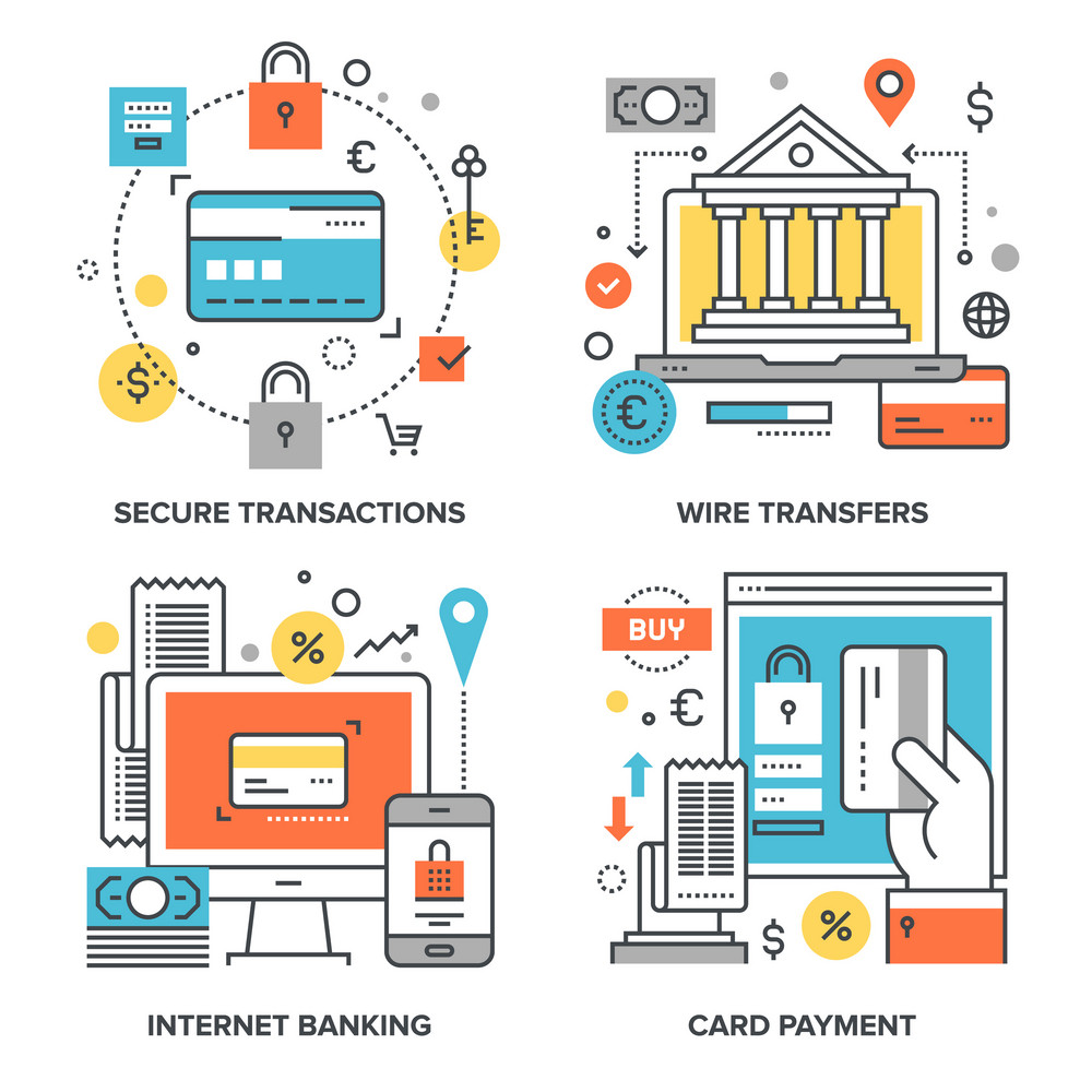 Vector set of conceptual flat line illustrations on following themes - secure transactions
