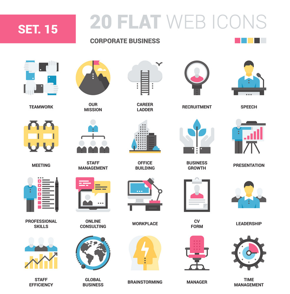 Vector set of corporate business flat web icons. Each icon neatly designed on pixel perfect 64X64 size grid. Fully editable and easy to use.