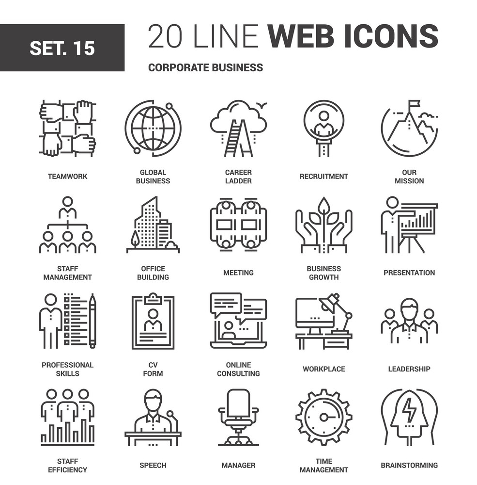 Vector set of corporate business line web icons  Each icon with