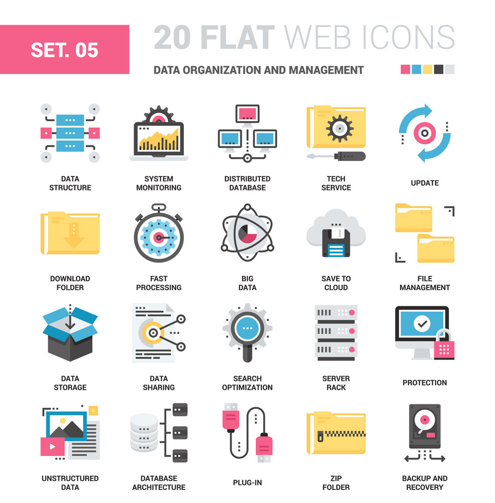 Vector Set Of Data Organization And Management Flat Web Icons Each Icon Neatly Designed On Pixel Perfect 64X64 Size Grid Fully Editable Easy To Use