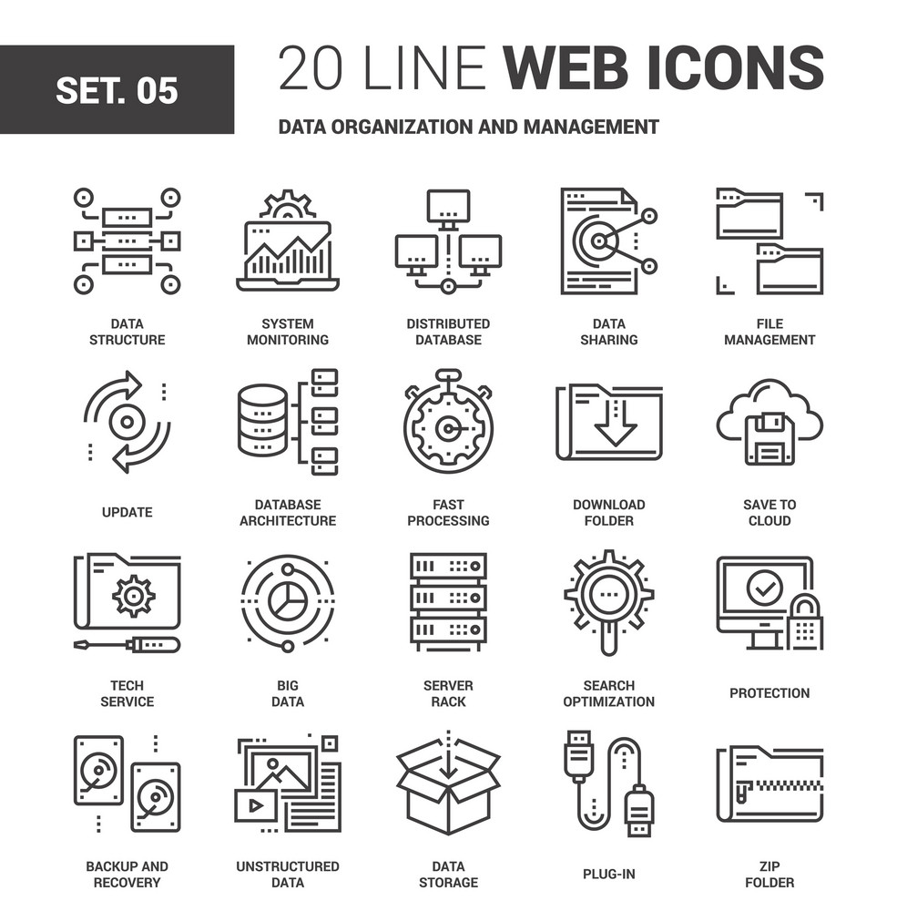 Vector Set Of Data Organization And Management Line Web Icons Each Icon With Adjustable Strokes Neatly Designed On Pixel Perfect 64X64 Size Grid