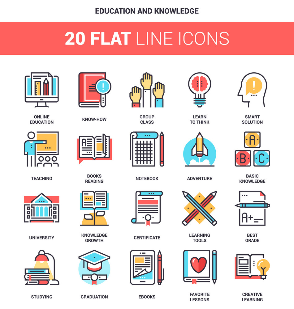 Vector set of education and knowledge flat line web icons. Each icon with adjustable strokes neatly designed on pixel perfect 64X64 size grid. Fully editable and easy to use.