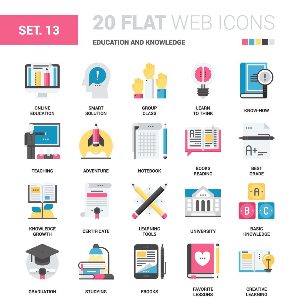 Vector set of digital marketing flat web icons  Each icon neatly