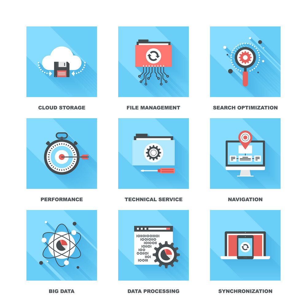 Vector set of flat data management icons on following themes - cloud storage