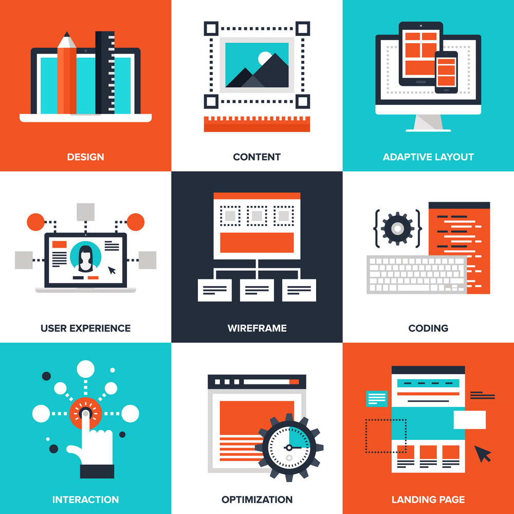 Vector set of flat web development icons on following themes - design