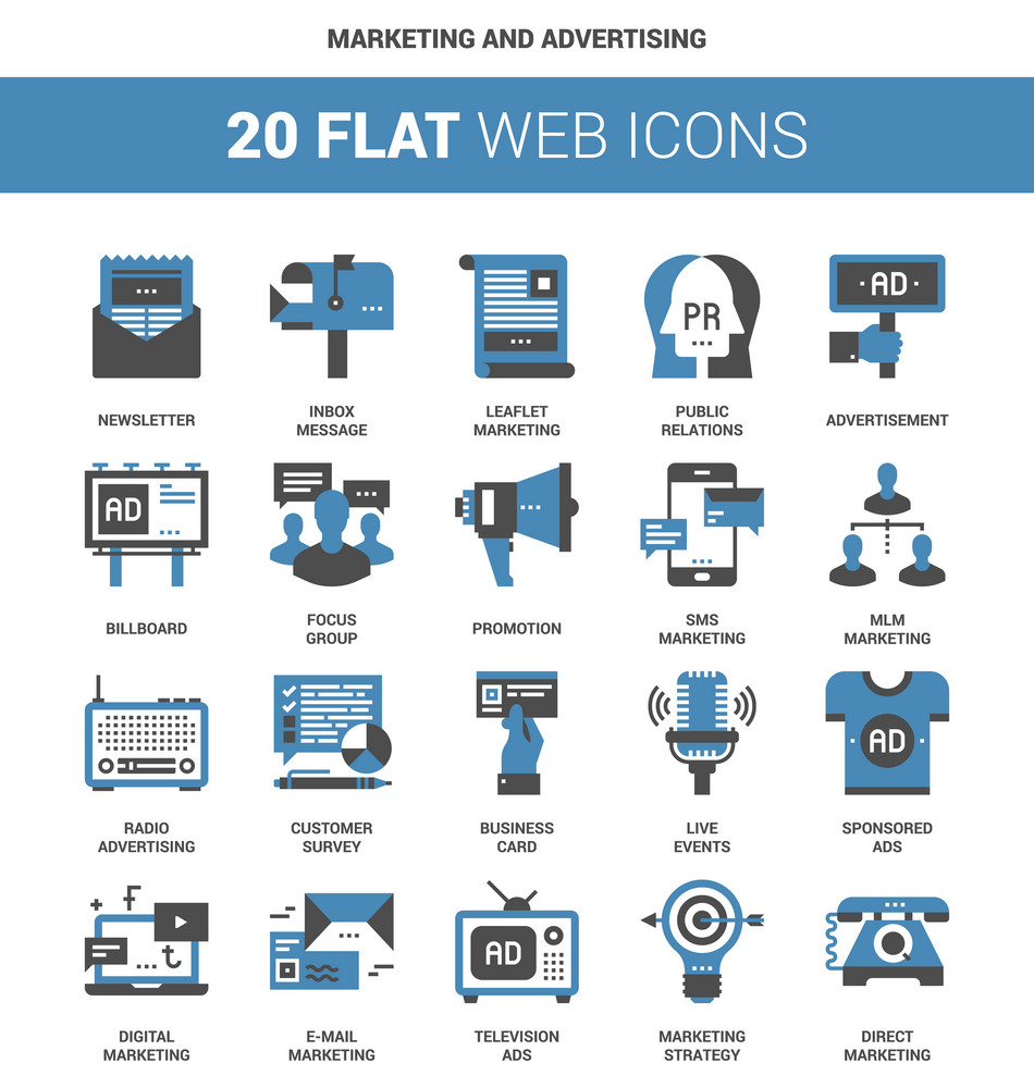 vector set of marketing and advertising flat web icons each icon