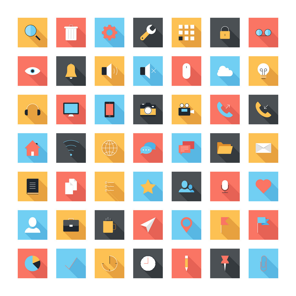 Vector set of modern and simple flat icons with long shadow. Design elements for mobile and web applications.
