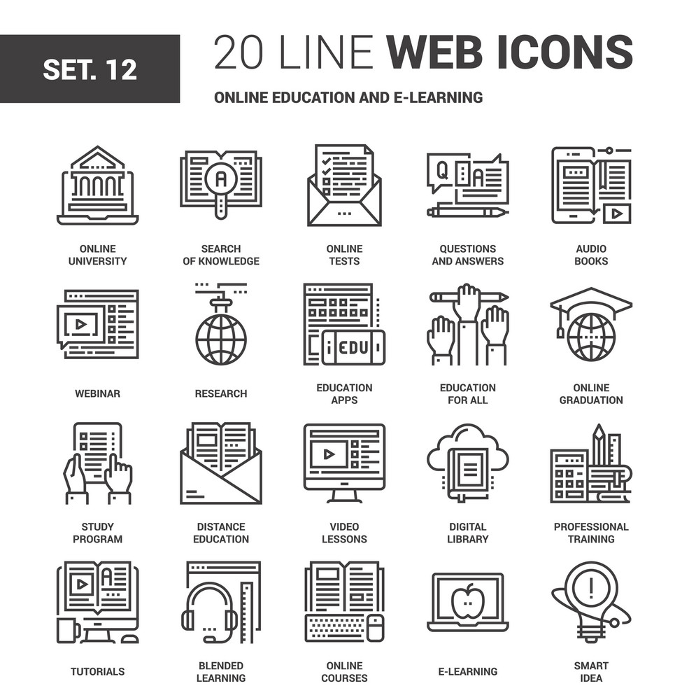 Vector set of online education and e-learning line web icons. Each icon with adjustable strokes neatly designed on pixel perfect 64X64 size grid. Fully editable and easy to use.