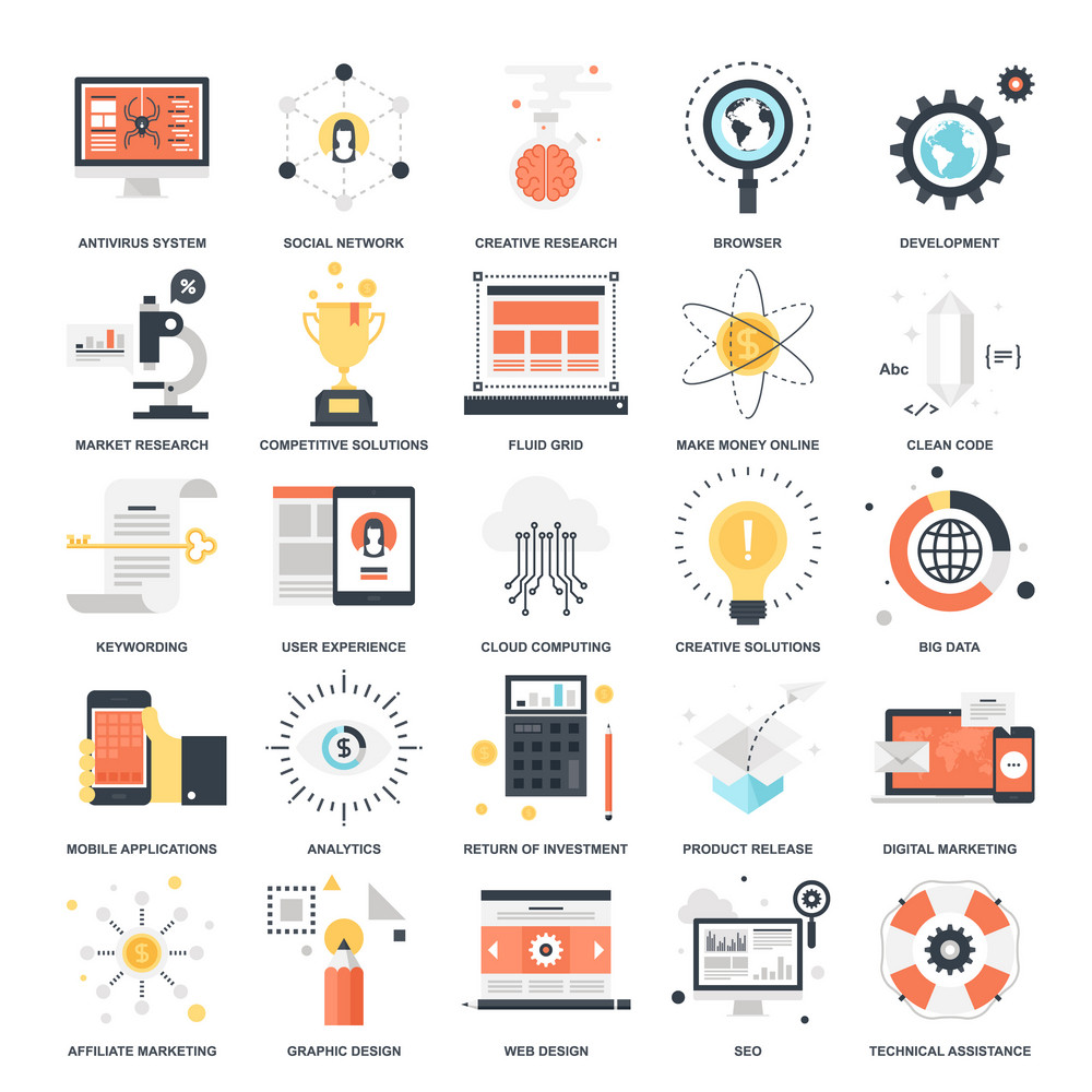 Vector set of SEO and development flat web icons  Illustration
