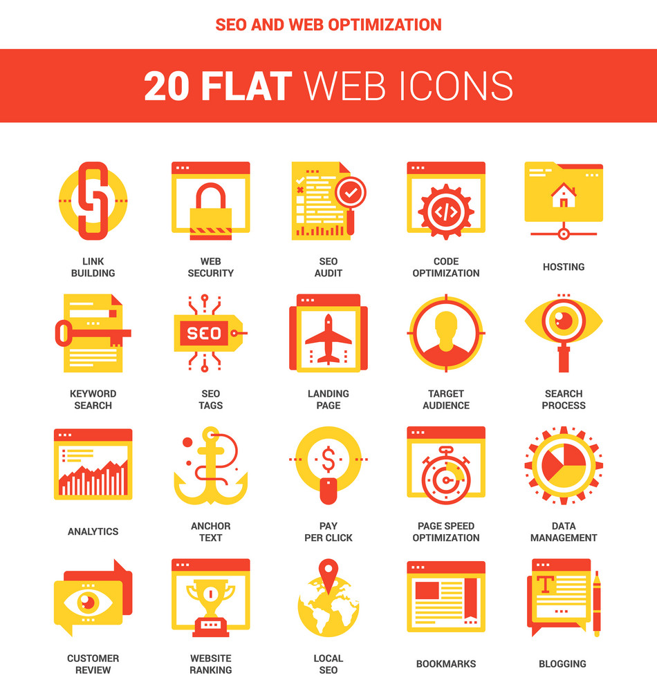 Vector set of SEO and web optimization flat web icons. Each icon neatly designed on pixel perfect 64X64 size grid. Fully editable and easy to use.
