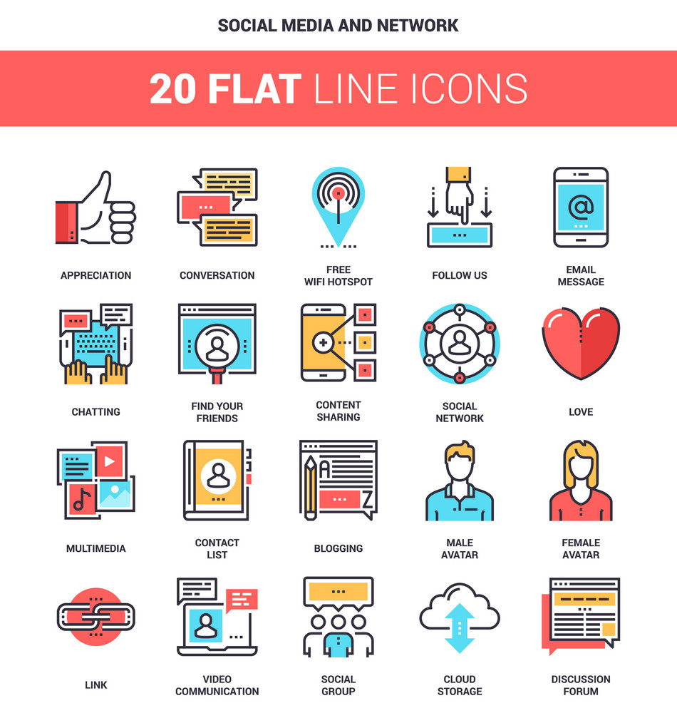 Vector set of social media and network flat line web icons. Each icon with adjustable strokes neatly designed on pixel perfect 64X64 size grid. Fully editable and easy to use.
