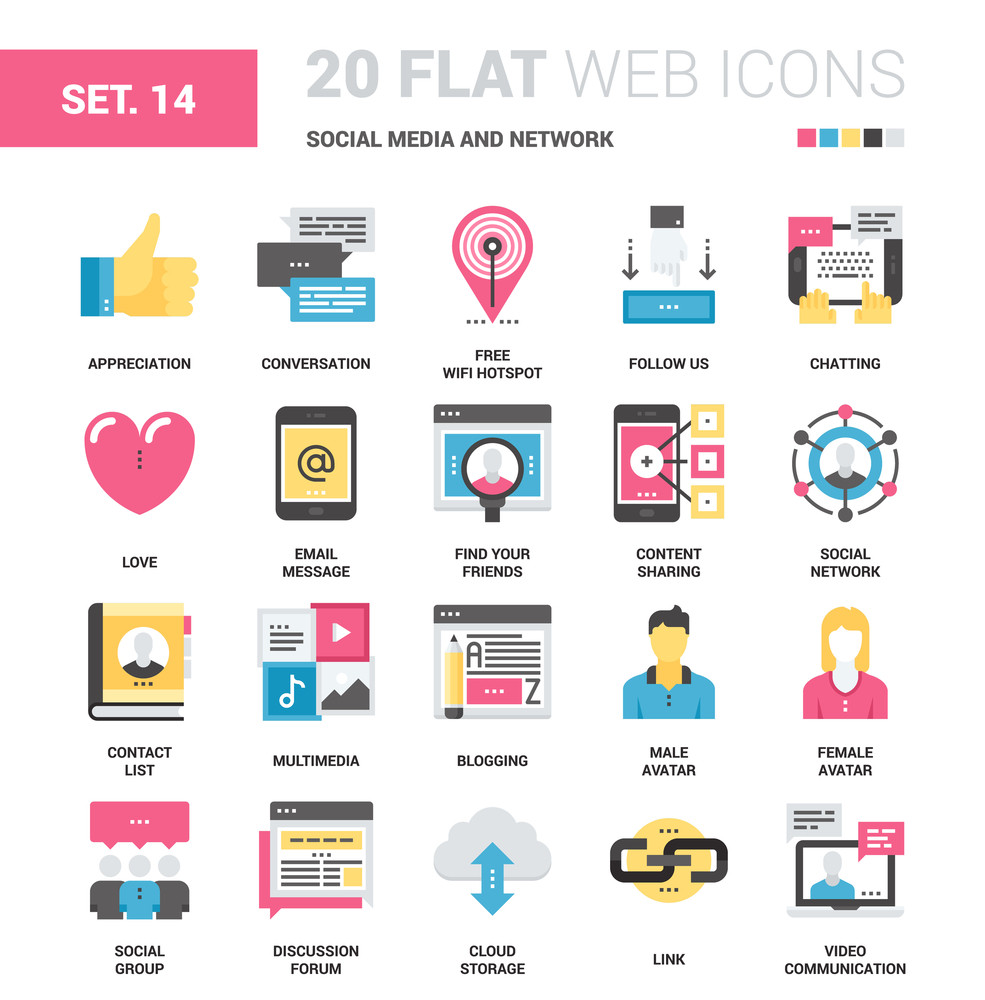 Vector set of social media and network flat web icons. Each icon neatly designed on pixel perfect 64X64 size grid. Fully editable and easy to use.