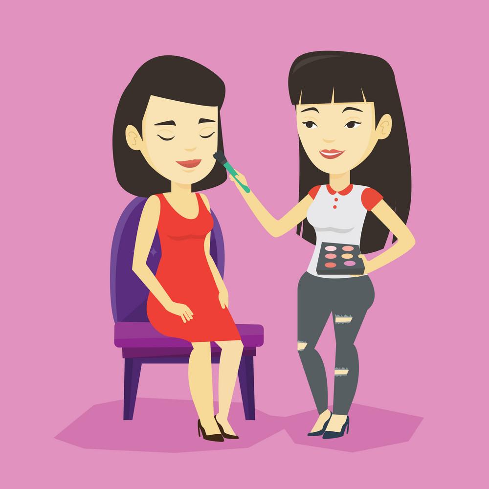 Visagiste applying makeup with a brush on woman face. Visagiste doing makeup to young asian woman. Visagiste doing makeup to a model using a brush. Vector flat design illustration. Square layout.