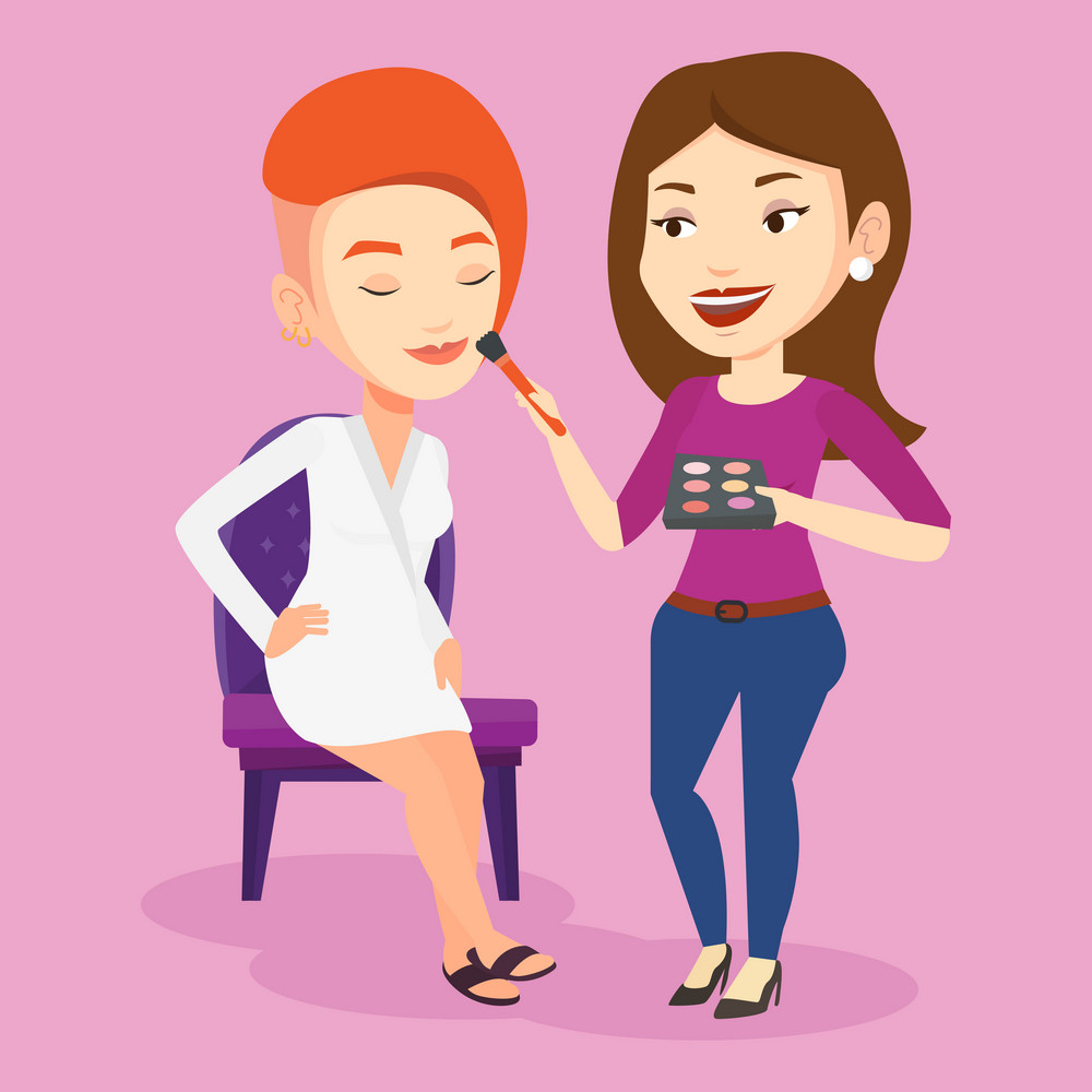 Visagiste applying makeup with a brush on woman face. Visagiste doing makeup to young stylish woman. Visagiste doing makeup to a model using a brush. Vector flat design illustration. Square layout.