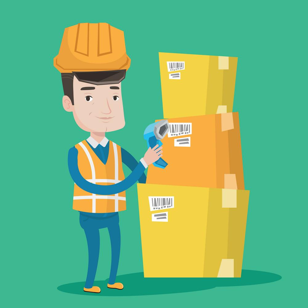 Warehouse worker scanning barcode on box. Warehouse worker checking barcode of box with a scanner. Warehouse worker in hard hat with scanner. Vector flat design illustration. Square layout.