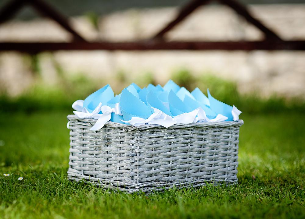 Wedding confetti basket ready for the wedding