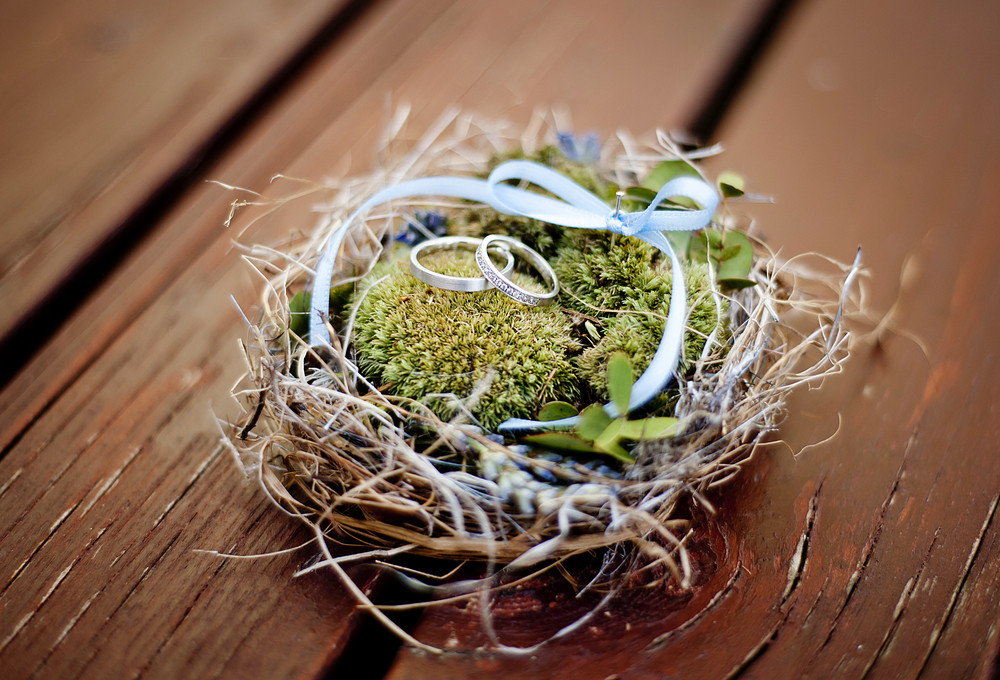 Wedding rings in decorated nest
