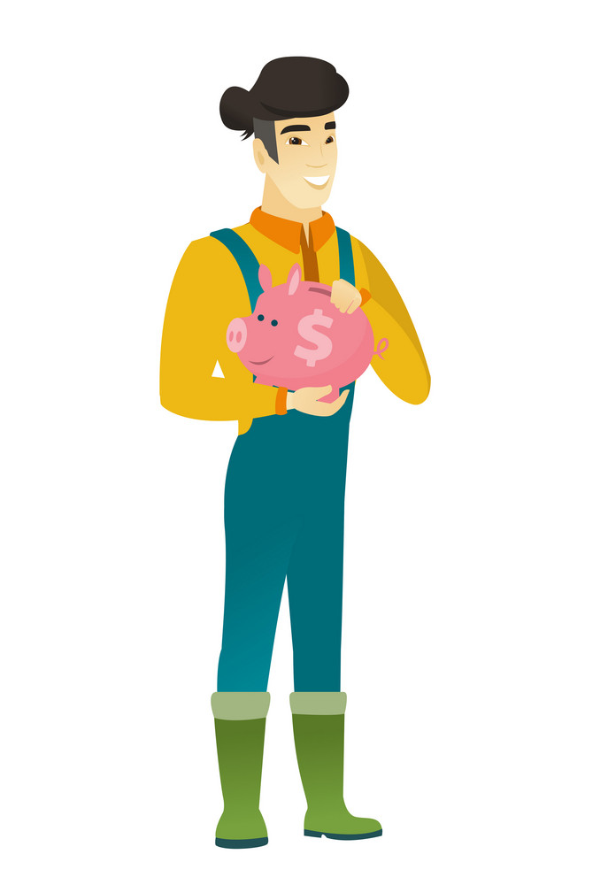 Widely smiling asian farmer in coveralls holding pink piggy bank with dollar sign. Full length of young farmer with piggy bank in hands. Vector flat design illustration isolated on white background.