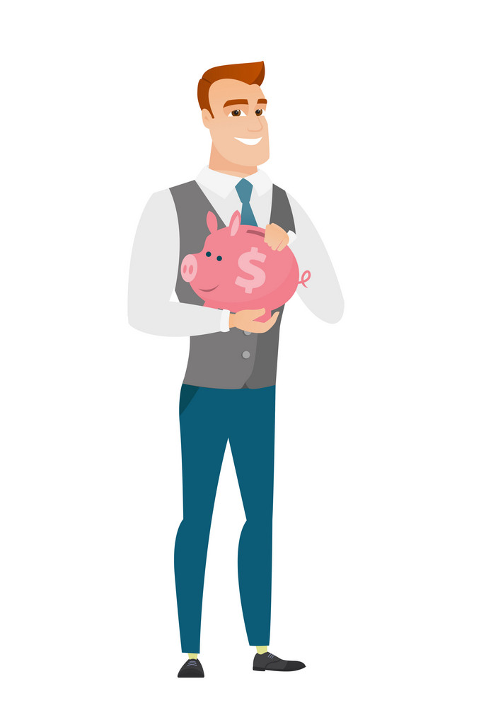 Widely smiling caucasian business man holding pink piggy bank with dollar sign. Full length of young business man with piggy bank in hands. Vector flat design illustration isolated on white background