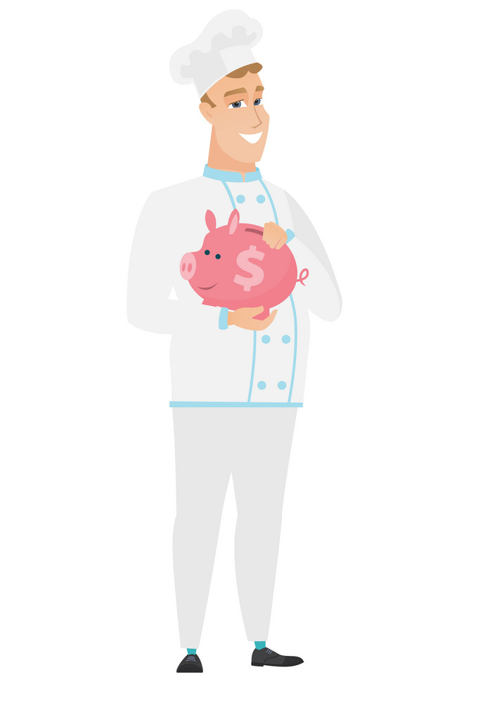 Widely smiling caucasian chef cook holding a pink piggy bank with dollar sign. Full length of young chef cook with piggy bank in hands. Vector flat design illustration isolated on white background.