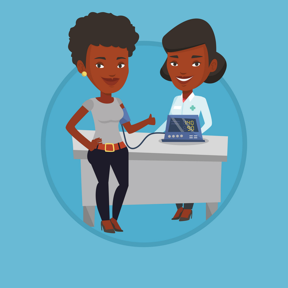 Woman checking blood pressure with digital blood pressure meter. Woman giving thumb up while doctor measuring her blood pressure. Vector flat design illustration in the circle isolated on background.