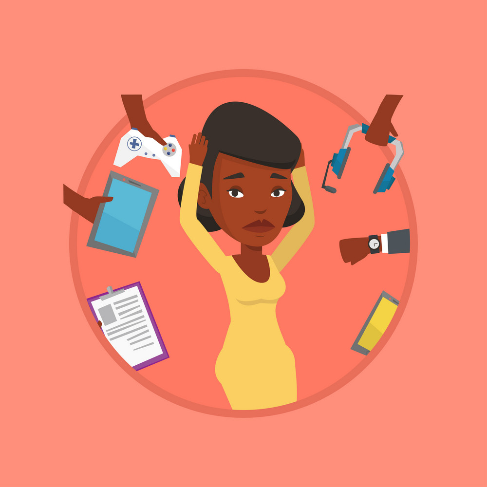Woman clutching head and many hands with modern gadgets around her. Woman surrounded with gadgets. Woman using electronic gadgets. Vector flat design illustration in the circle isolated on background.