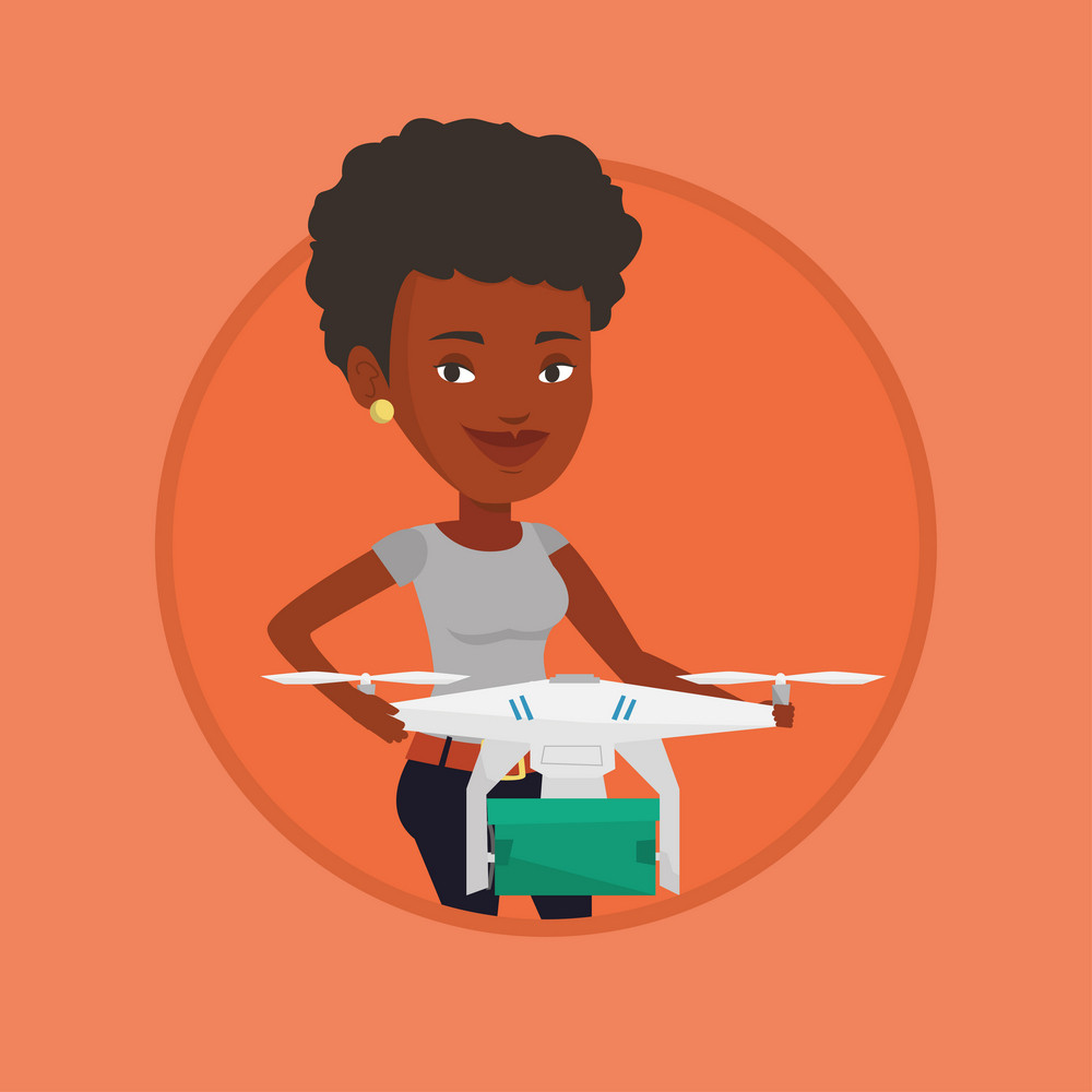Woman controlling delivery drone with parcel. Woman getting parcel from delivery drone. Woman sending parcel with delivery drone. Vector flat design illustration in the circle isolated on background.