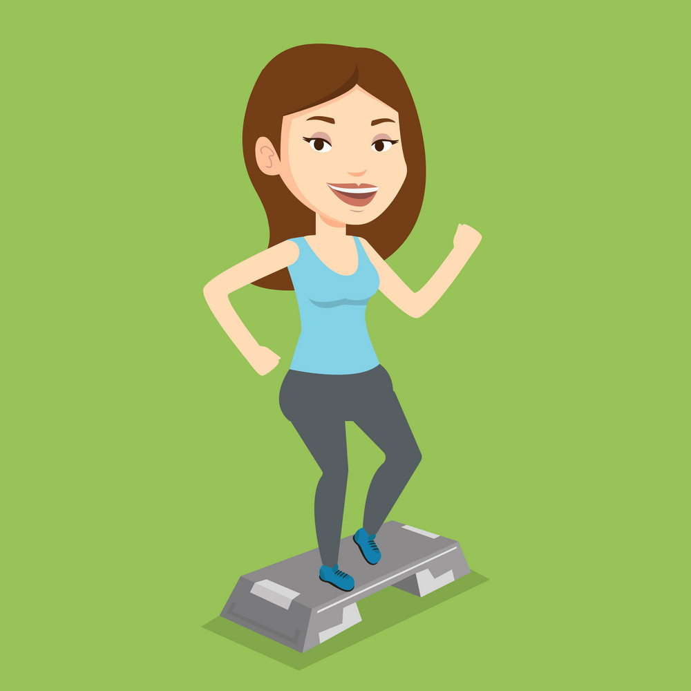 Woman doing step exercises. Caucasian woman training with stepper in the gym. Woman working out with stepper in the gym. Sportswoman standing on stepper. Vector flat design illustration. Square layout