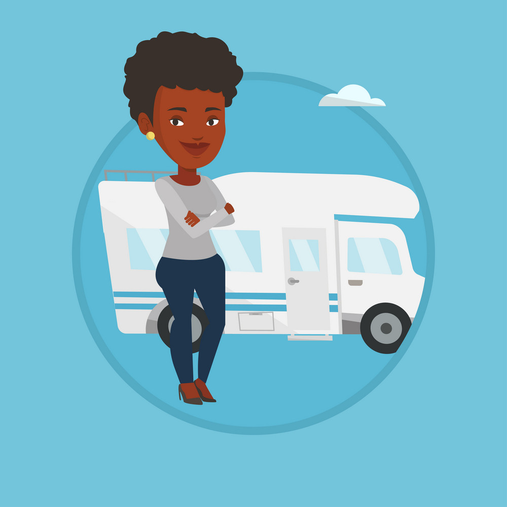 Woman enjoying her vacation in motor home. Woman standing with arms crossed in front of motor home. Woman traveling by motor home. Vector flat design illustration in the circle isolated on background.