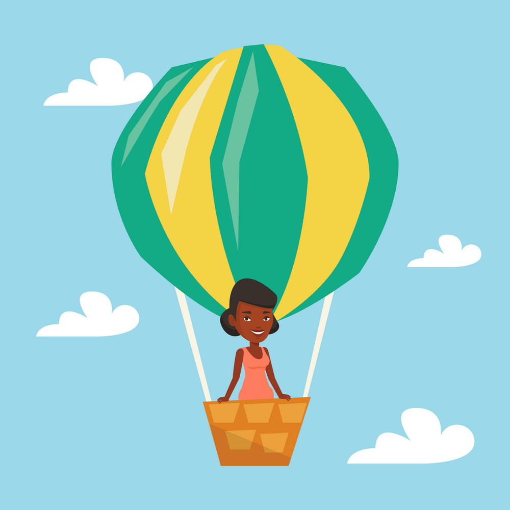 Woman flying in a hot air balloon. African woman standing in the basket of hot air balloon. Woman traveling in aerostat. Girl riding a hot air balloon. Vector flat design illustration. Square layout.