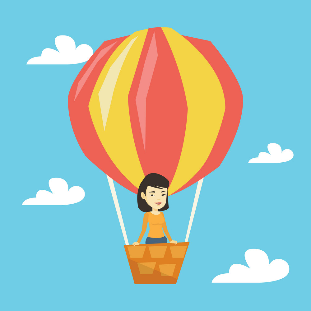 Woman flying in a hot air balloon. Woman standing in the basket of hot air balloon. Woman traveling in hot air balloon. Girl riding a hot air balloon. Vector flat design illustration. Square layout.