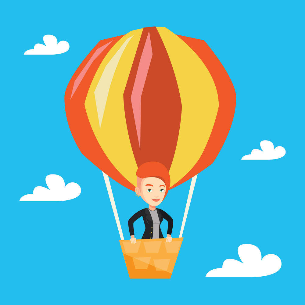 Woman flying in a hot air balloon. Woman standing in the basket of hot air balloon. Woman traveling in hot air balloon. Vector flat design illustration. Square layout.