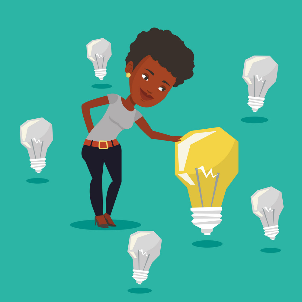 Woman having business idea. An african business woman standing among unlit idea bulbs and looking at the brightest light bulb. Business idea concept. Vector flat design illustration. Square layout.