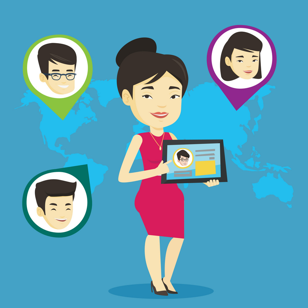Woman holding tablet computer with social network user profile on a screen. Woman standing on the background of world map with avatars of social network. Vector flat design illustration. Square layout