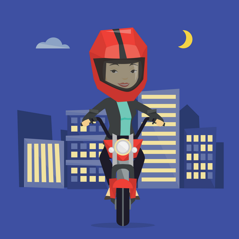 Woman in helmet riding a motorcycle on the background of night city. Woman driving a motorcycle on a city road. Happy woman riding a motorcycle at night. Vector flat design illustration. Square layout