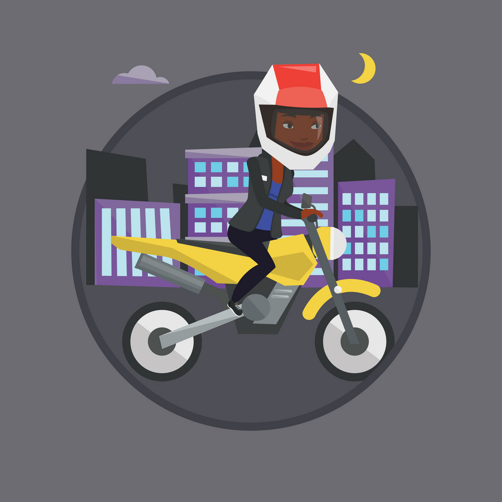Woman in helmet riding a motorcycle on the background of night city. Woman driving a motorcycle. Woman riding a motorcycle at night. Vector flat design illustration in circle isolated on background.