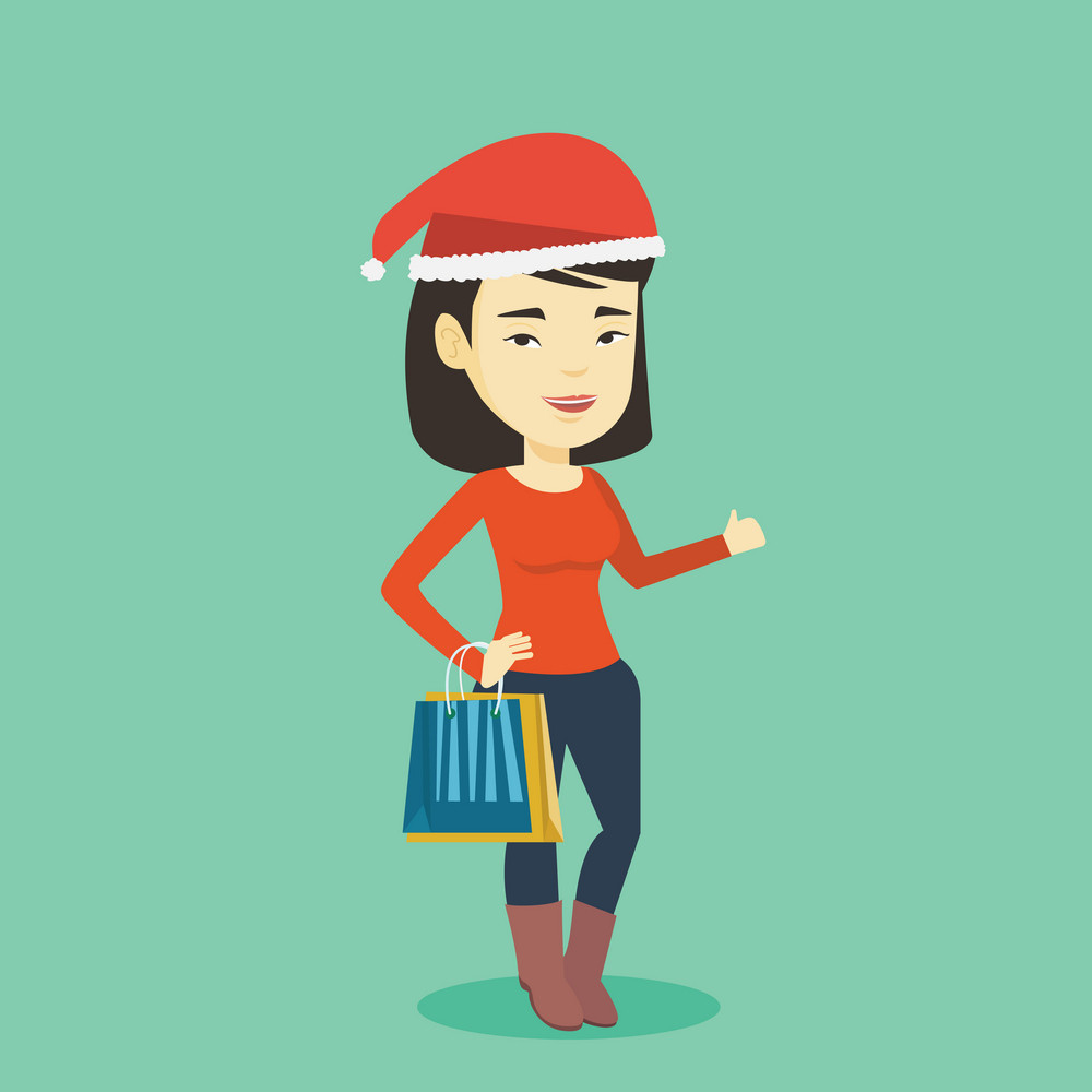 Woman in santa hat holding shopping bags. Asian woman carrying shopping bags. Girl with a lot of shopping bags. Young woman buying christmas gifts. Vector flat design illustration. Square layout