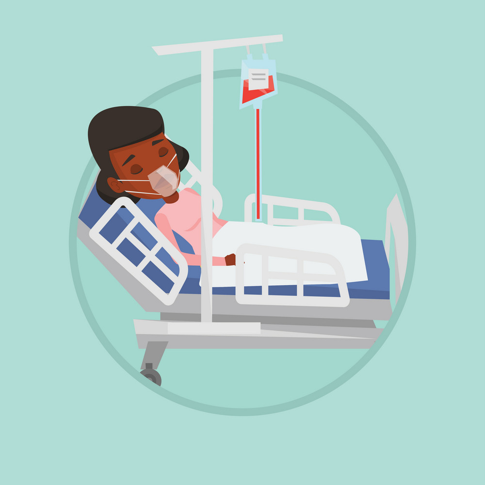 Woman lying in hospital bed with oxygen mask. Woman during medical procedure with drop counter. Patient recovering in hospital. Vector flat design illustration in the circle isolated on background.