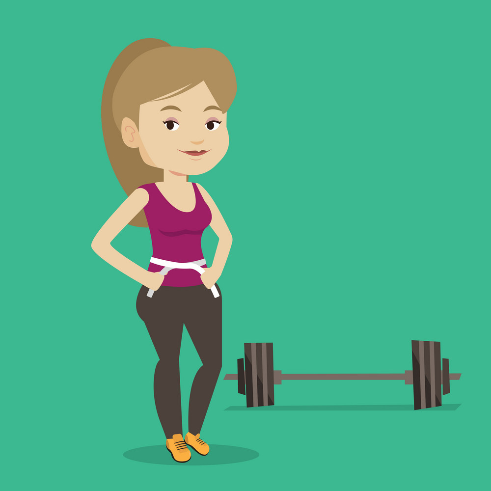 Woman measuring her waistline with a tape. Woman measuring with tape the waistline. Happy woman with centimeter on a waistline standing near a barbell. Vector flat design illustration. Square layout.
