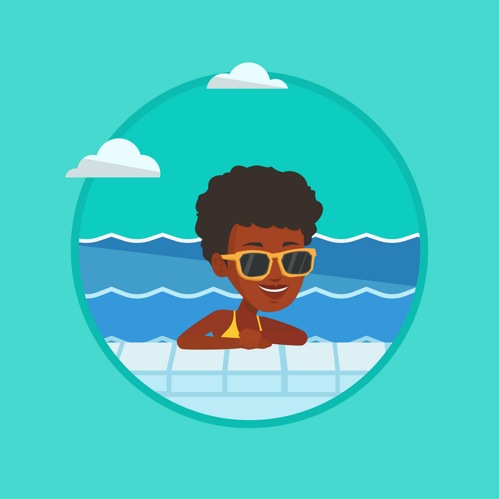 Woman relaxing in swimming pool at resort. Woman bathing in swimming pool. Woman swimming and relaxing in pool on summer vacation. Vector flat design illustration in the circle isolated on background.