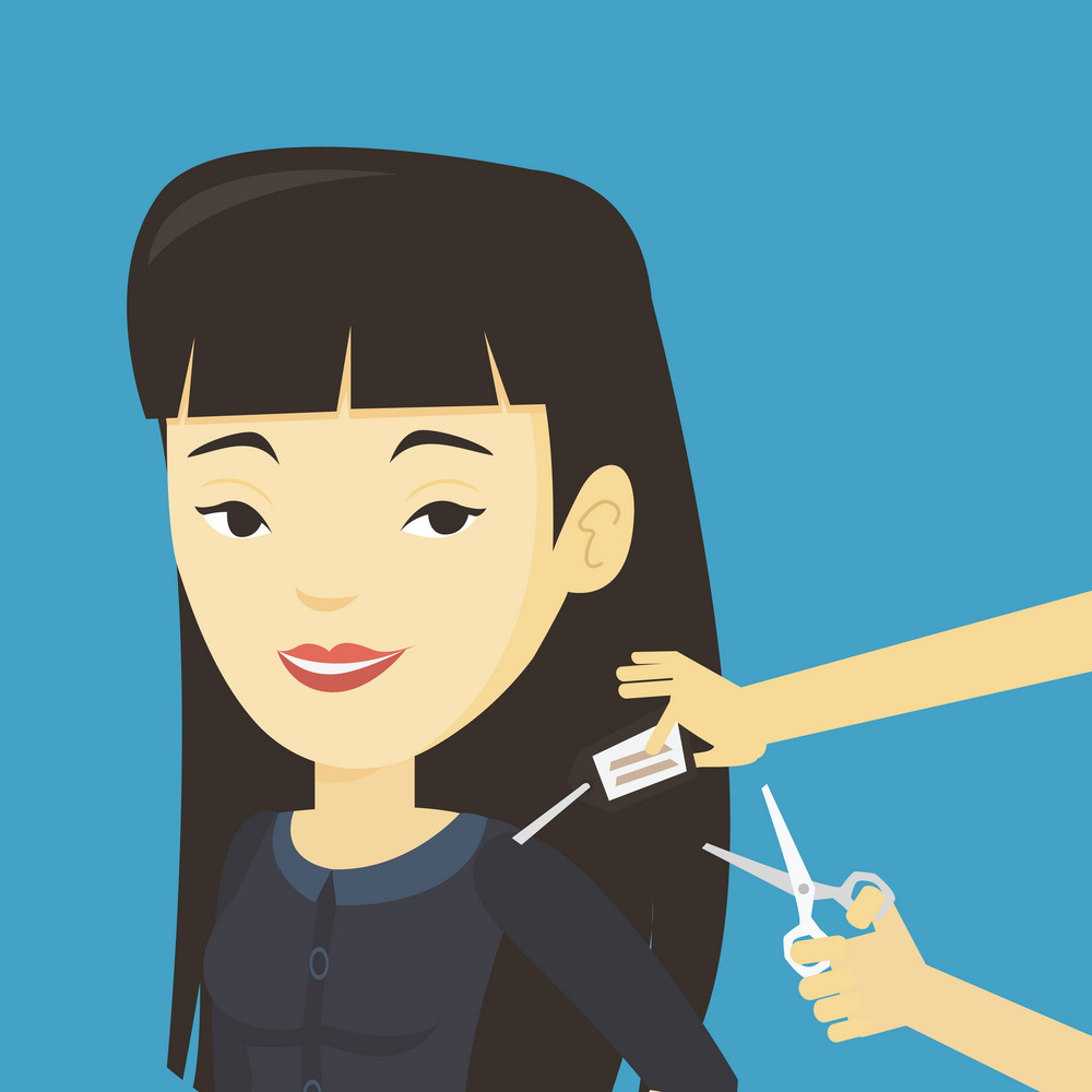 Woman removing price tag off new t-shirt. Young asian woman cutting price tag off new clothes with scissors. Happy woman shopping at clothes store. Vector flat design illustration. Square layout.