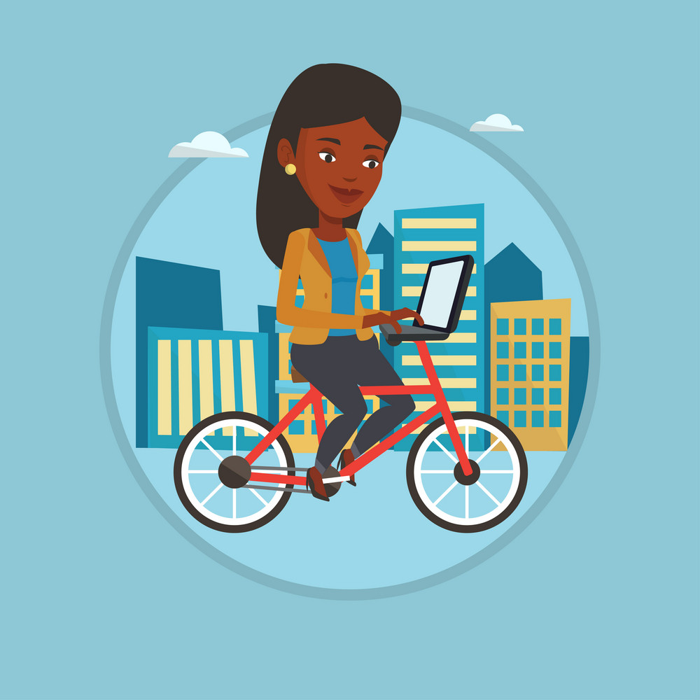 Woman riding a bicycle to work. Businesswoman with laptop on a bike. Businesswoman working on a laptop while riding a bicycle. Vector flat design illustration in the circle isolated on background.