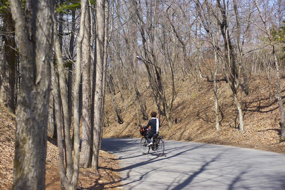 Woman riding bikes during springtime