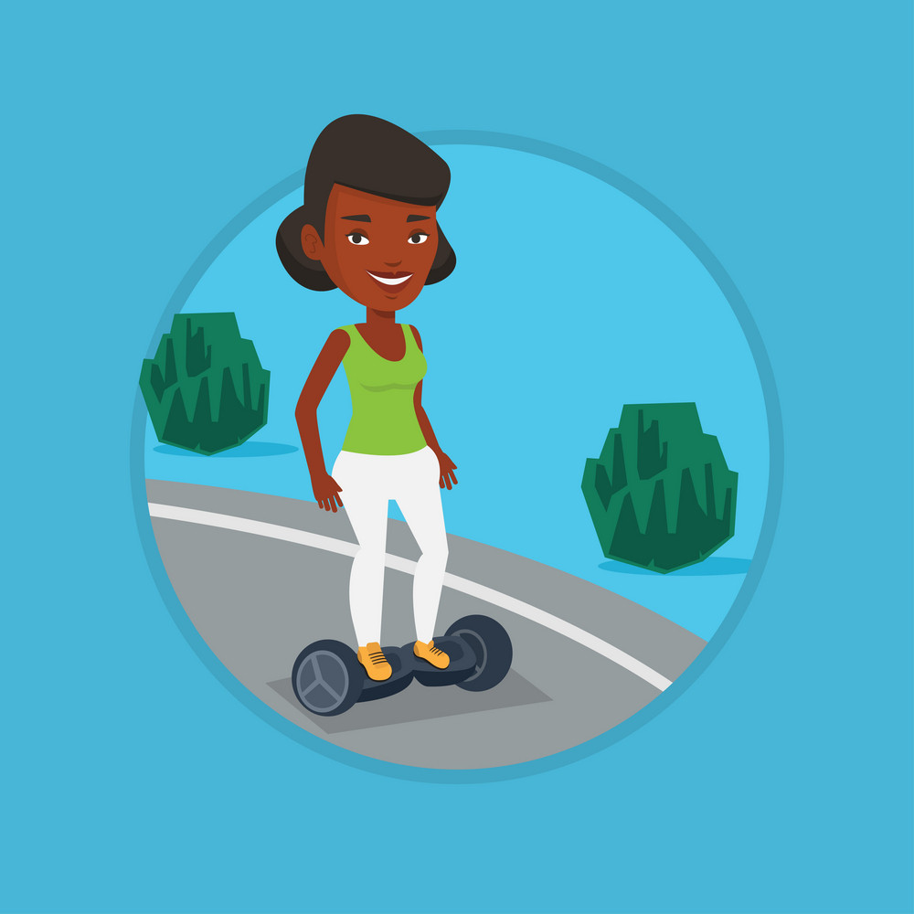 Woman riding on self-balancing electric scooter in the park. Woman riding on gyroscooter outdoor. Woman standing on gyroboard. Vector flat design illustration in the circle isolated on background.