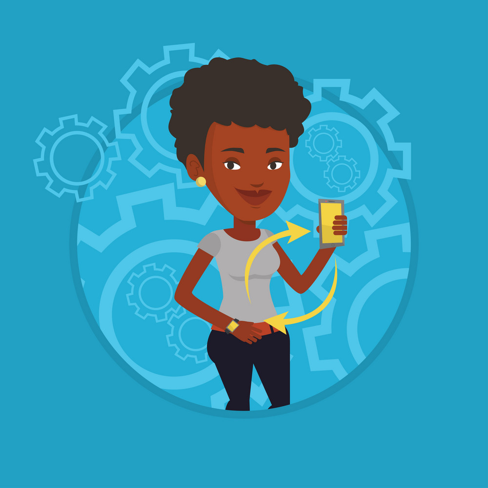 Woman showing smartphone and smart watch on the background with cogwheels. Synchronization between smart watch and smartphone. Vector flat design illustration in the circle isolated on background.