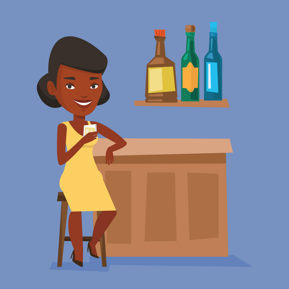 Woman sitting at the bar counter. Woman sitting with glass in bar. An african-american woman sitting alone and celebrating with an alcohol drink in bar. Vector flat design illustration. Square layout.