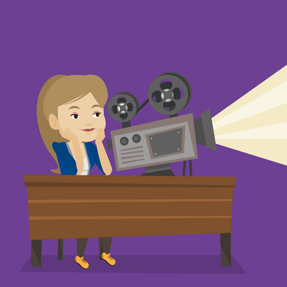 Woman sitting at the table with film projector in the room of projectionist. Caucasian projectionist showing new film. Young projectionist at work. Vector flat design illustration. Square layout.